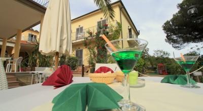 Aperitivo in giardino Zona palma Entrata Hotel Villla Wanda Porto Azzurro Isola d'Elba Hotel con giardino